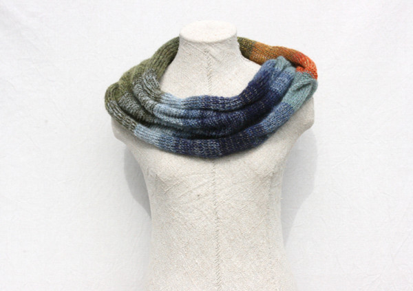 Tirelis Marsh knit mohair silk loop scarf Wraptuyre by Inese Iris Liepina green olive navy blue jade paprika orange gold blue