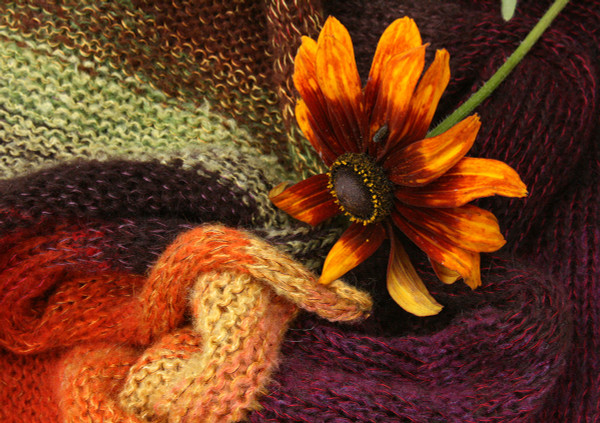 Fall Flower mohair loop scarf Wrapture by Inese Iris Liepina