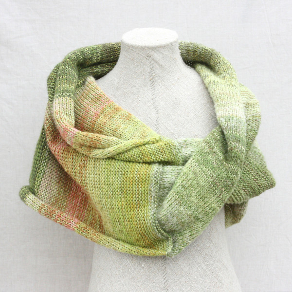 Rhubarb Flower shawl wrap mohair cotton chunky knit Wrapture by Inese Iris Liepina coral pink green lime celery