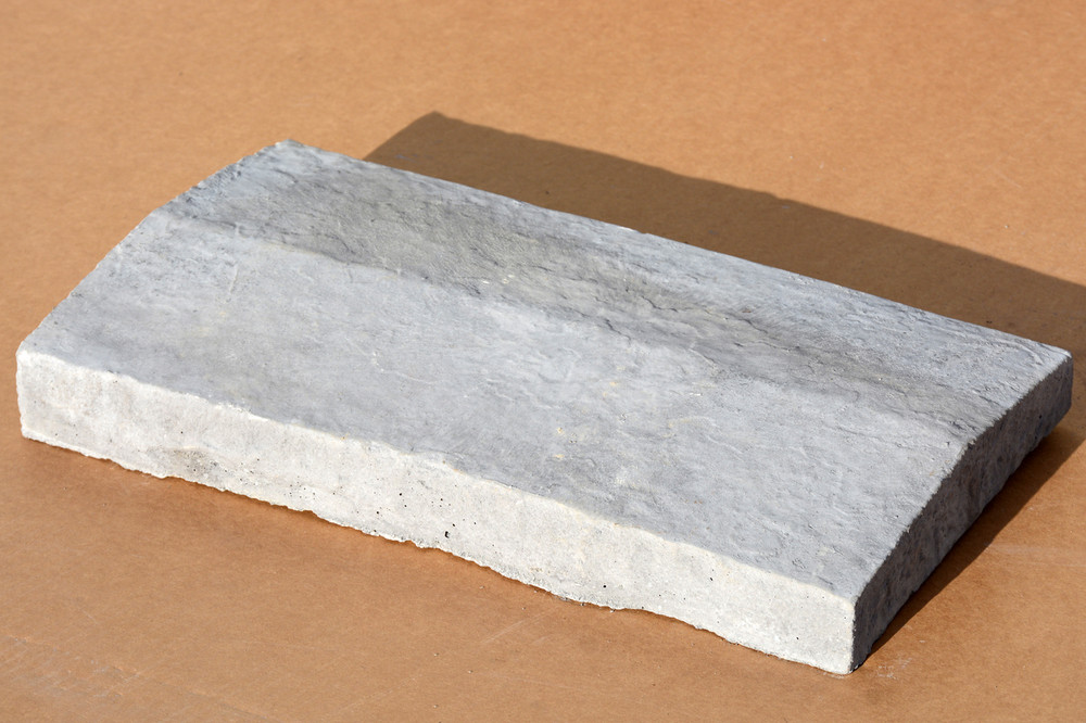 Peaked wall cap 11 1/2 inches wide by 20 inches long. Comes in any color you wish. The standard is gray