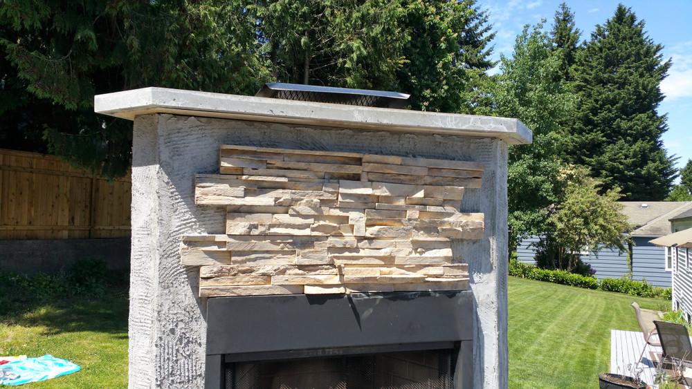 Outside Living.  Exterior Fireplace Seattle