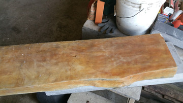 "Mantle is 10"" deep x 3""wide up to 6 ' long with live edge. Really looks like a wood mantel."