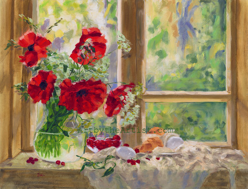 Joal Curtis 'Poppies' Art Print Litho or Canvas Signed