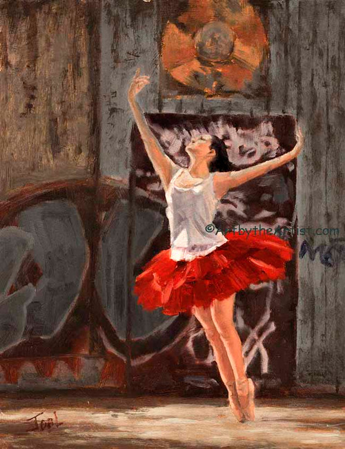 Joal Curtis 'Alley Ballerina' Art Print Litho or Canvas Signed