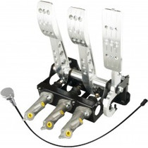 Pro-Race Universal Floor mount cockpit oriented master cylinders kit - standard throttle cable