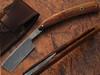 White Deer Custom Made Damascus Steel Straight Razor w/ Wood Handle & Sheath