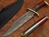 White Deer Damascus Steel Rattler Bowie Knife Frost Wood Handle