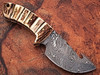 Damascus Steel Skinner Knife (Stag Handle & Gut Hook)