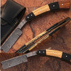Custom Damascus Steel Straight Razor w/ Buffalo Horn  olive wood