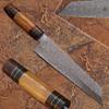 Custom Made Damascus Steel Olive wood ,Hard wood Handle Tanto