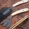 Custom Made Damascus Steel Blade Razor w/ Camel Horn Handle