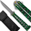 Scoundrel Alloy Balisong Butterfly Knife Green & Black Marble Matrix