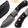 White Deer Damascus Steel Skinner Knife w/ Buffalo Horn Handle