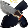 WHITE DEER Guthook Pattern Welded Damascus Steel Tracker Knife Skinner Stag Handle