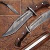 WHITE DEER Damascus Steel Blood Groove Bowie Knife w/ Rose Wood Han