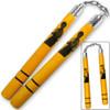 Bruce Lee Nunchaku Martial Arts Nunchuks Solid Hardwood w Steel Chain Linkage Yellow Finish