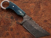 White Deer Damascus Tanto Tracker Camel Bone Handle in Blue Color 1095 HC Steel