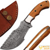 WHITE DEER Custom Made Damascus Tracker Knife With Olive Wood Handle