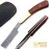 White Deer Damascus Steel Straight Razor w/ Wood & Brass Handle
