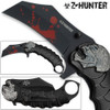 Z-HUNTER Zombie Tactical Karambit Black Knife Assisted-O Glass Breaker Finger Ring