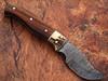 White Deer Damascus Steel Skinner Knife w/ Walnut Wood and  stag Bolster 1095 HC