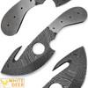 White Deer Gut Hook Damascus Skinner Knife