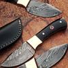 Custom Made Damascus Skinner Knife w/ Full Tang Buffalo Horn Han