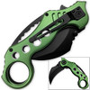 Tactical Extreme Karambit Knife | Spring Assisted Blade Green Handle