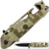 US Rangers Helicopter Tactical Folding Knife Spring Assist Emergency Desert Camo