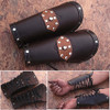 Assassins Guild Dark Leather Bracers Light Armor Brown Arm Cuffs Pair