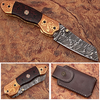 Executive Series ENGRAVED Nesmuk Folding Damascus Knife Rainwood w Solid Copper Bolstered