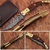 Baekelite ENGRAVED Clip-Point Folding Damascus Knife