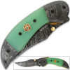 Trailmaster Clippoint Damascus Folding Knife Fire-Forged Steel Bolster Composite Grip