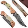 Magnum Rancher Damascus Folding Knife Engraved Copper Bolster Camel Bone Grip