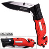 8in TAC Force Firefighter Rescue Flashlight Pocket Knife Spring Assisted Folding Red