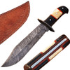 White Deer Hulking Damascus Bowie Knife