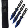 Akuma Arachnid Demon Ninja Throwing Knives 3pcs Set Black Icy Blue Trim Spider