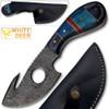 White Deer Damascus Gut Hook Skinner Hunting Knife (Hand Made)