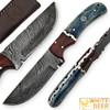 White Deer Blue Bunyan Damascus Steel Knife