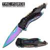 Tac-Force TF-705RB Rainbow Combo A/O Black Rainbow Liner Handle Folding Knife