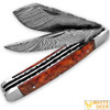 White Deer Master Trapper Damascus Knife Cocobolo Wood Folding Dual Blade
