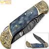 WHITE DEER Lockback Damascus Folding Knife Grey Giraffe Bone Handle Engraved Bolster