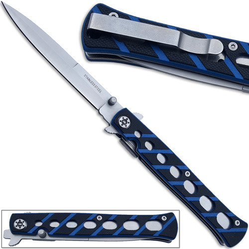 Full Size Slickster Stiletto Knife Slim Fox Blue Folding G10 Handle