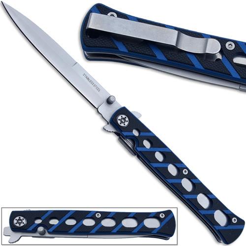 Full Size Slickster Stiletto Knife Slim Fox Blue Folding G10 Handle