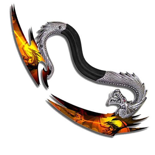 Gun Metal Dragon Handle Double Bladed Fantasy Dagger