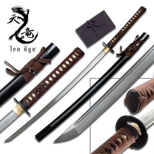 Ten Ryu - Sharp Damascus Steel Katana Sword 1