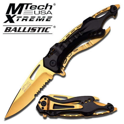 MTECH BALLISTIC Tactical Sporting Knife   Gold Titanium Coated Blade, Black Metal Handle