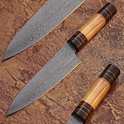 Custom Made Damascus Steel Olive wood ,Hard wood Handle 1