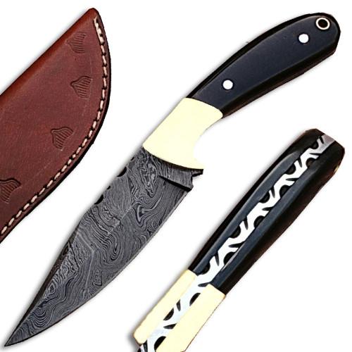 White Deer Custom  Damascus Steel Knife (Buffalo Horn Handle)