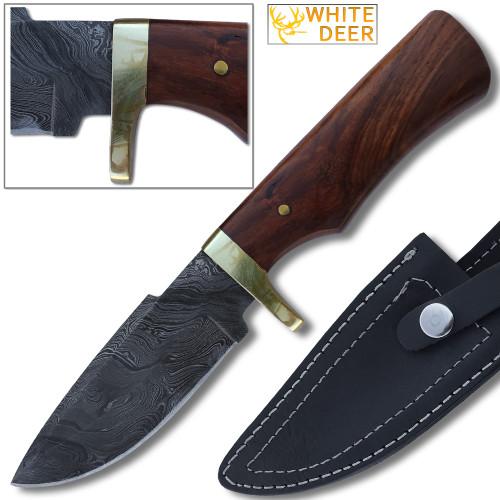 White Deer Elite Tracker Damascus Hunting Knife w Pakka-Wood Handle